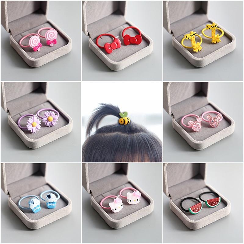 A Pair Cute Baby Hair Ring Animal Fruit Small Head Rope Rubber Band Elastic Hair Band Acrylic Children Hair Accessories Headwear