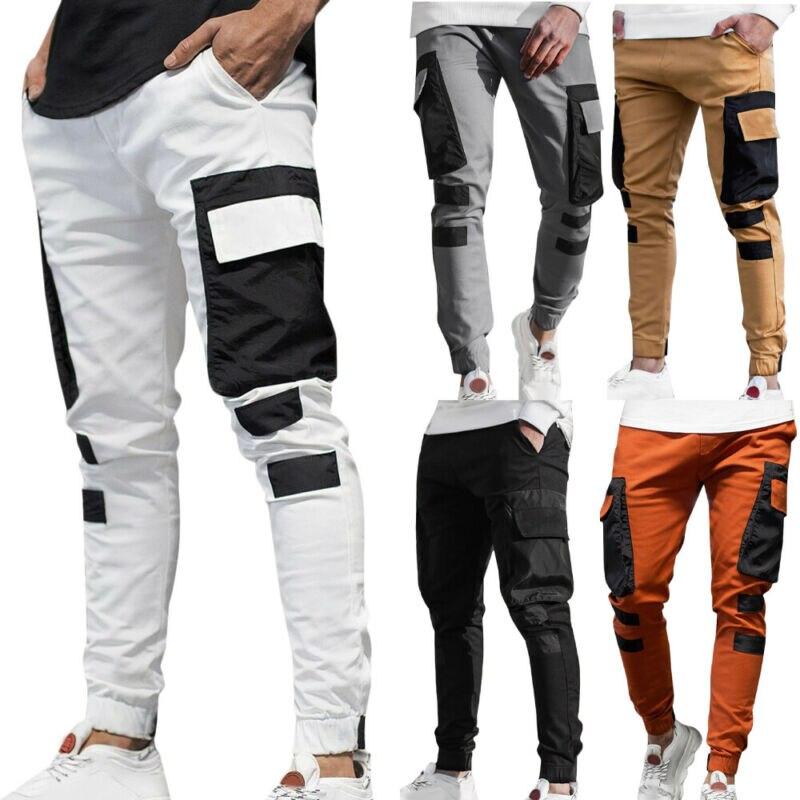 Брюки-карго мужские, облегающие Джоггеры для бега, тренировочные костюмы, брюки с низом