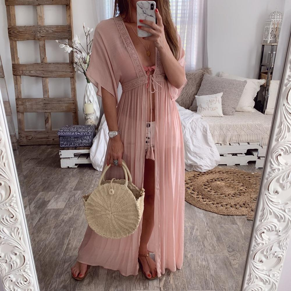 Vacation Robe Boho Chic Long Dress Beach Cardigan Dress Female Summe Solid Vestidos Wrap Dress Robe Femme Holiday Party Wear