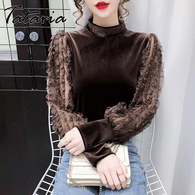 Women Tops And Blouses With Lace Vintage Women Golden Velvet Lantern Long Sleeve Shirt Elegant streetwear Fashion tops spring 4