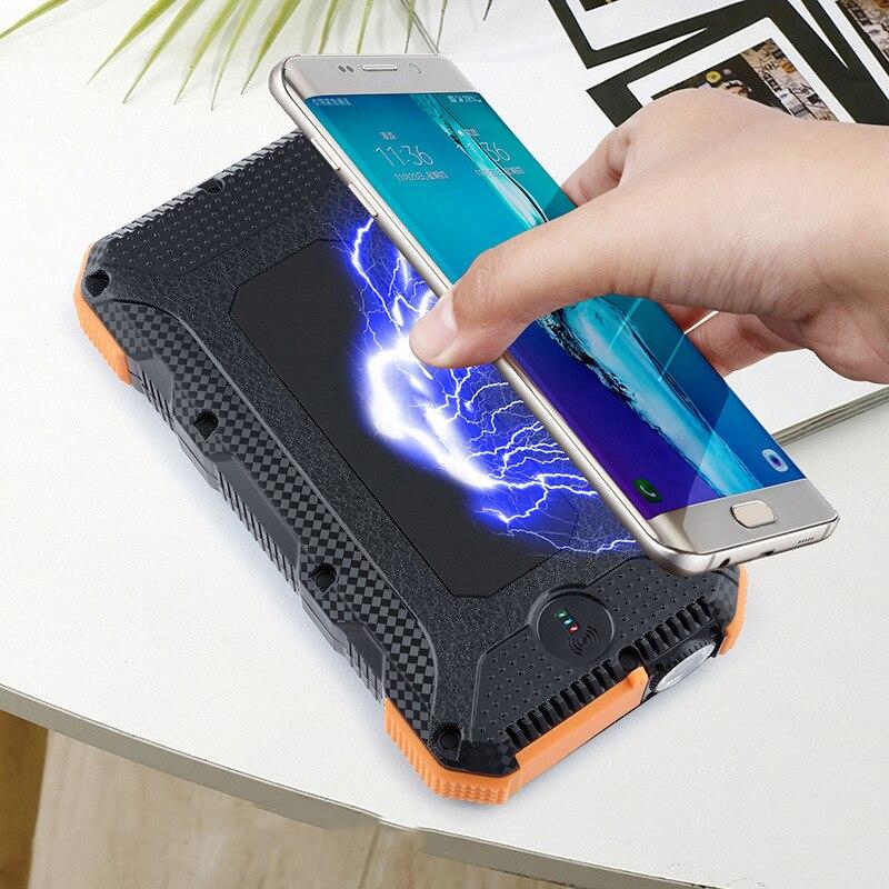 Портативное зарядное устройство Qi, 20000 мАч, на солнечной энергии, беспроводное зарядное устройство, 20000 мАч, водонепроницаемый фонарик для с...