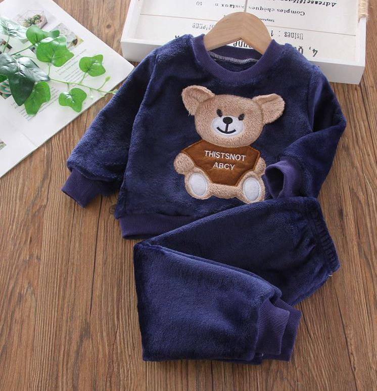New Autumn Winter Baby Clothes Pajamas Sets Girls Pajamas Children Warm Flannel Fleece Catoon Bear Kids Sleepwear Home Suit 1-6Y 2