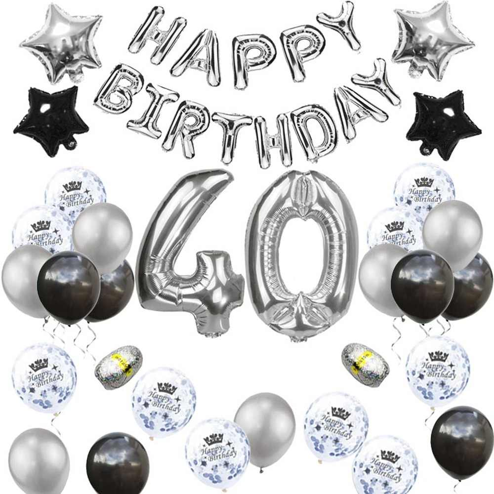18 21 30 40 50 60 Tahun Pesta Ulang Tahun Dewasa Signifikan Balon Perak Pesta Confetti Baloon 50th 60th Ulang Tahun perlengkapan Xn