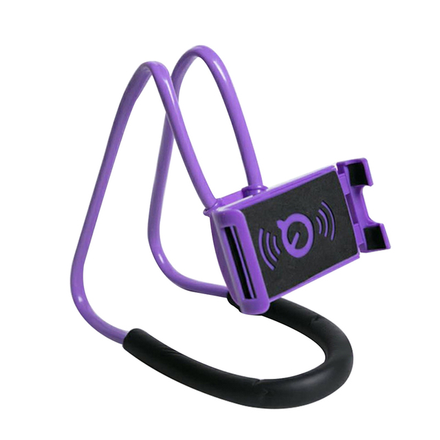 Flexible lazy neck stand phone holder with pendant neck and halter with mobile phone holder and necklace