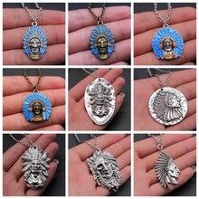 Indian Tribal Chef Anhänger Halskette Für Frauen Männer Ethnische Schmuck Halskette Geschenk Lange Kette Metall Kette Halskette Schmuck