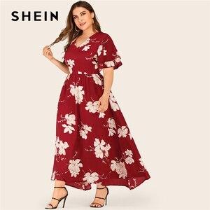 Image 1 - SHEIN Plus Größe Große Floral Druck Geschichtet Hülse Maxi Kleid Frauen Sommer Herbst V ausschnitt Hohe Taille Fit und Flare casual Kleider