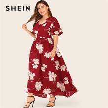 SHEIN Plus ขนาดดอกไม้ขนาดใหญ่พิมพ์ Layered แขน Maxi ชุดผู้หญิงฤดูร้อนฤดูใบไม้ร่วง V คอสูงเอว Fit และ Flare ชุดลำลอง