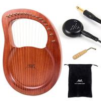AKLOT Lyre Harp 16 String Solid Mahogany Wood with Pickup Tuning Hammer Carry Bag String Instrument Christmas Gift