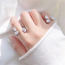 ZAKOL-anillos de apertura ajustables para mujer y niña, forma de gota de agua, Circonia cúbica, regalo de joyería, novedad de 2020, FSRP2226