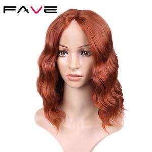 Image 4 - FAVE Lace Front 9*1.4 Natural Wave Synthetic Hair Wigs Orange Red Adjustable Size For Black White American Women 's Cosplay Wig