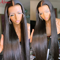 HD прозрачный кружевной 28 дюймов 13x4 кружева передние человеческие волосы парики предварительно вырезанные бразильские прямые волосы 150% чел...