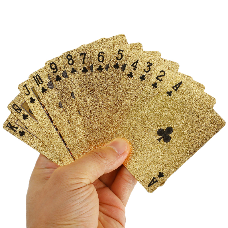 24K Gold Playing Cards Poker Plastic Waterproof Card Collection Board Game Poker Game Deck Foil Pokers