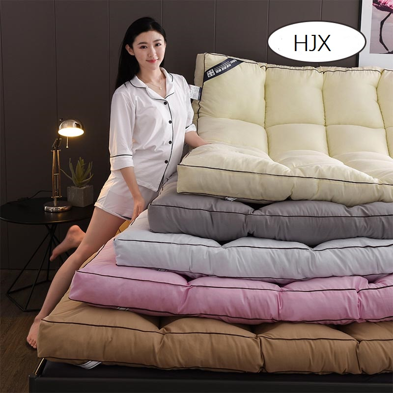 HJX  Filling Feather Velvet Mattress Foldable Solid Color Tatami Single Double Mattresses Keep Warm In Winter King Queen Size