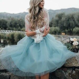 Image 3 - Falda de tul azul personalizada para Mujer, falda plisada Vintage, Midi, blanca, de Lolita, de jupe Secret