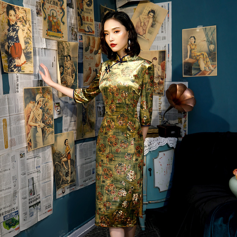Sexy Women Chinese Prom Dress Print Flower Vintage Slim Qipao Traditional Large Size 4XL 5XL Cheongsam Classic Elegant Vestidos