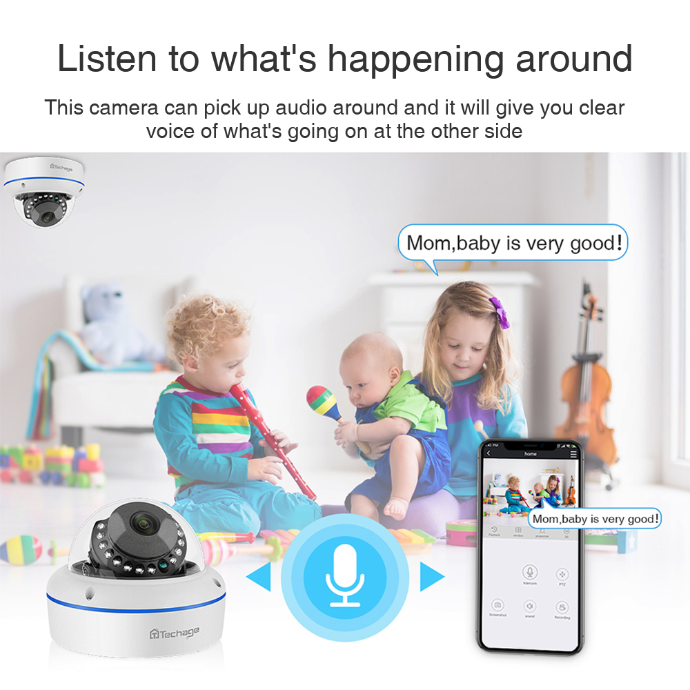 Techage 4CH 1080P Home Security 2TB HDD NVR 4 stücke POE CCTV Kamera System 2MP Audio Sound Im Freien IR Nachtsicht Überwachung Kit