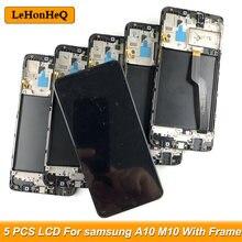 5 sztuk/partia A10 lcd do samsunga Galaxy A10 wyświetlacz A105/DS A105F M10 M105 montaż digitizera ekranu dotykowego z ramą