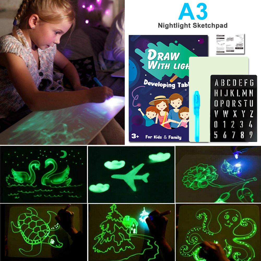 LED Light Luminous Drawing Board Kids Graffiti Doodle Drawing Tablet Magic Draw With Light-Fun Fluorescent Pen Educational Toys