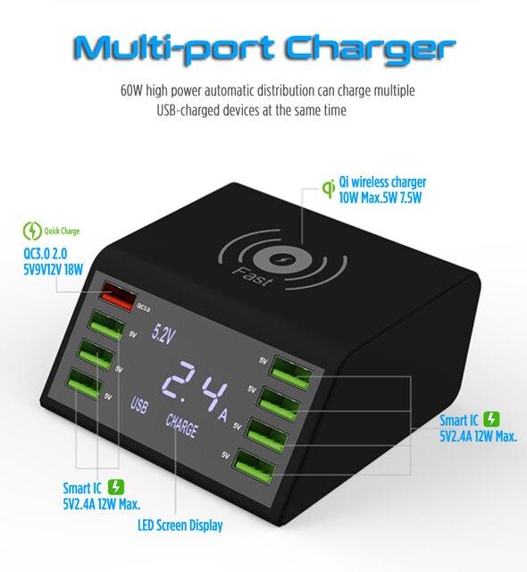Nhanh Charge3.0 Sạc Không Dây 8 Cổng USB Sạc Nhanh Cho Iphone XR Max Samsung S9 S8 Huawei P20 P 30 xiaomi Mi Note 10 Pro