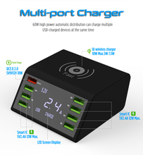 Quick Charge3.0 Wireless Charger 8 USB Port Fast Charge For Iphone XR Max Samsung S9 S8 Huawei P20 P 30 Xiaomi Mi Note 10 Pro