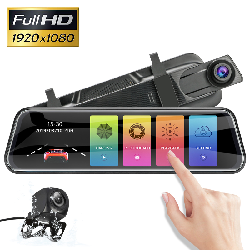 Drive-Recorder Rearview-Mirror Car-Camera Touch-Screen 10inch Dual Full-Hd 2 IPS