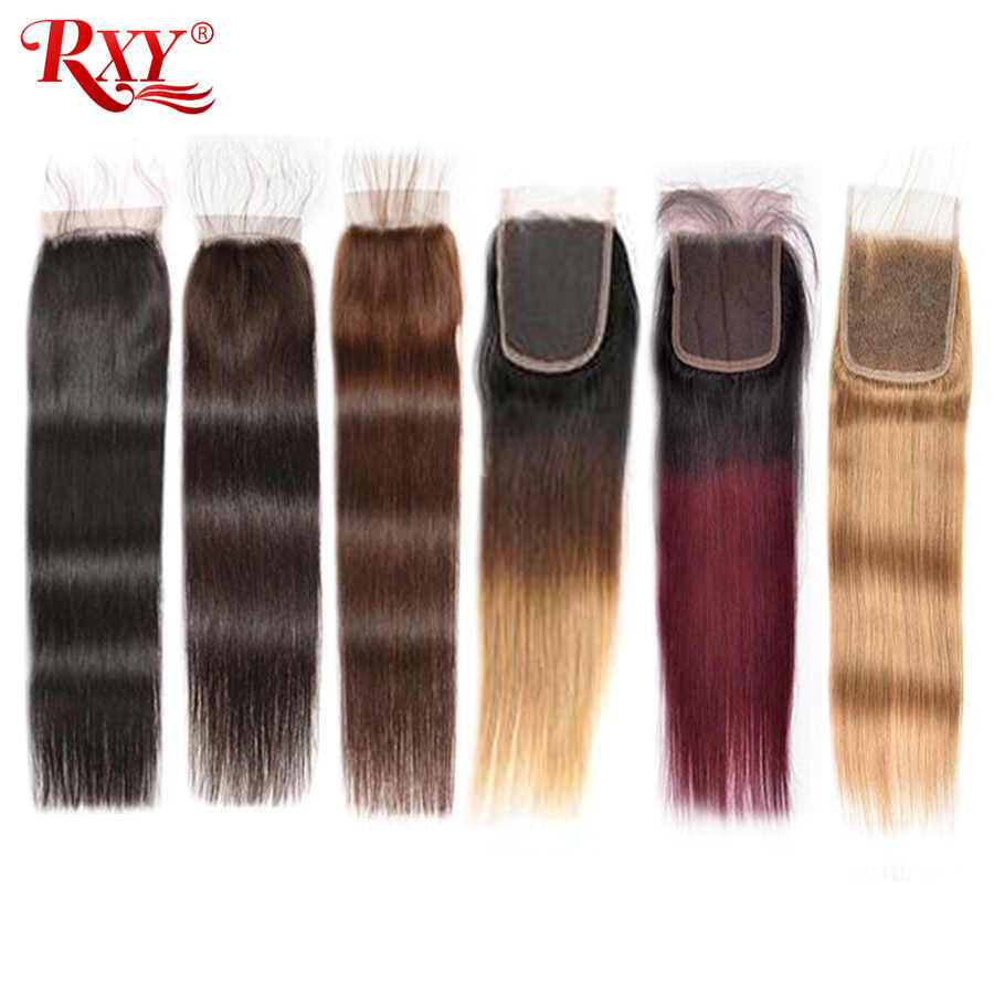 Straight Lace Closure RXY Brazilian Hair Remy Human Hair Closure #1B/#2/#4/#27/99J Closures Pre Plucked Ombre Hair Closure