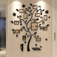 Acrylique 3D famille Photo cadre arbre Stickers muraux amovible bricolage Art affiche murale Stickers pour salon chambre décoration de la maison