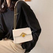 Женские сумки на цепочке, новинка для женщин, однотонные маленькие сумки через плечо из искусственной кожи, модные дизайнерские женские дор...