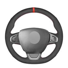 Черная замша DIY красный маркер Вручную прошитый чехол рулевого колеса автомобиля для Renault Clio 4 IV) Каптур Captur 2016 2017 2018 2019 2020