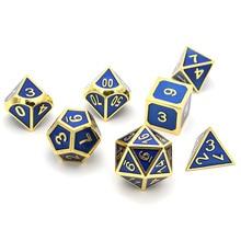 Набор из 7 игральных костей блестящее золото отделка с Королевский голубой эмалью краски настольная игра