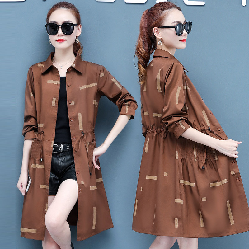 2019 Autumn New Style Fashion Korean-style Coat Large Size Slimming Waist Hugging Mid-length Trench Coat Women's 2715