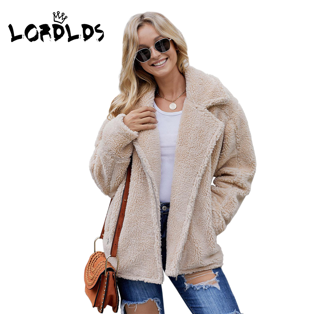LORDLDS Sherpa Jacket Women Coats Outwear Autumn Large-Sizes Winter with XXL