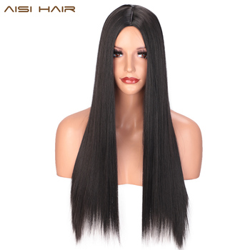 AISI HAIR Ombre Black Straight Long Wig Natural Synthetic Hair For Black Women Heat Resistant Fiber Cosplay Party Wigs цена 2017