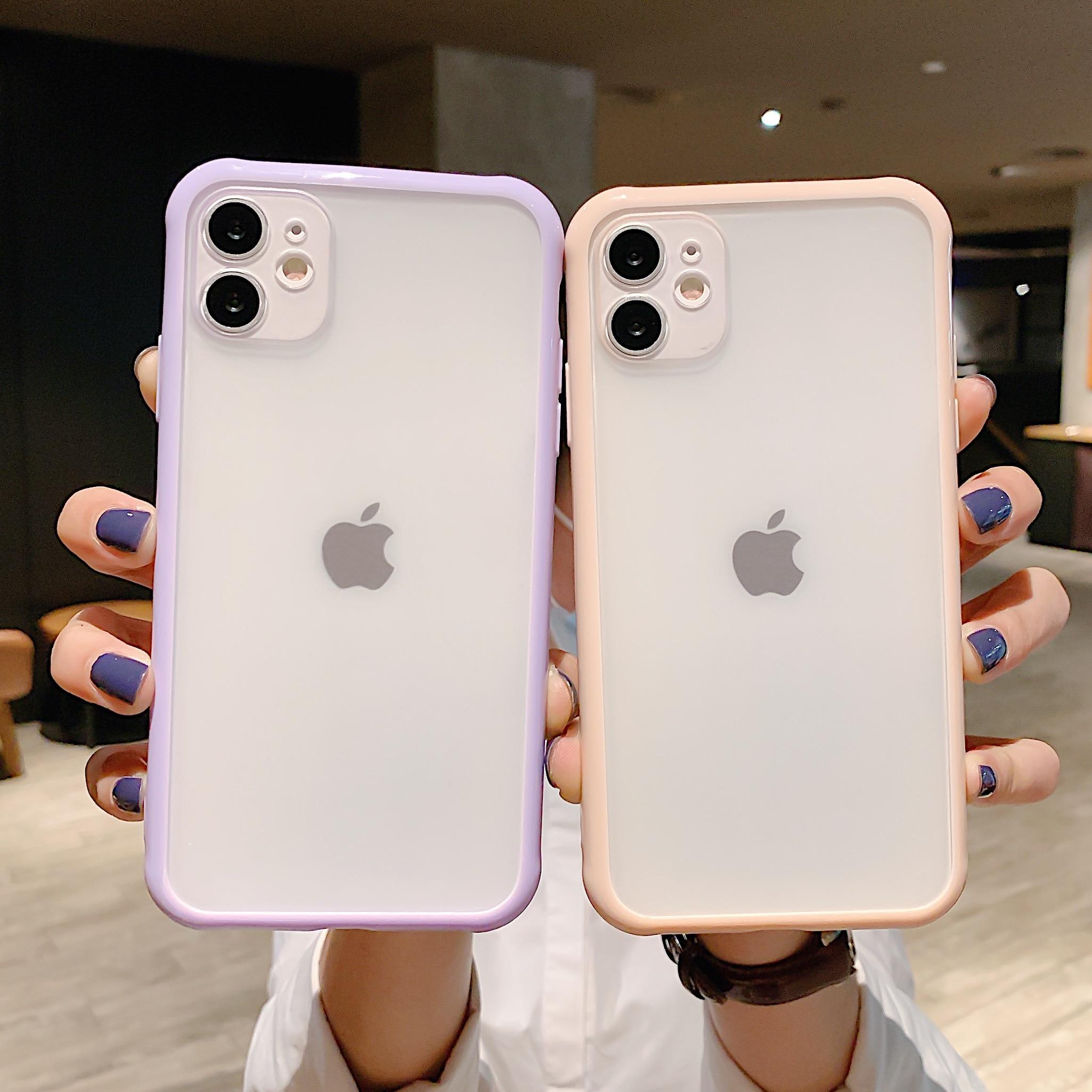 Custodia per telefono trasparente con armatura antiurto per iPhone 12 11 Pro X Xs MAX XR 6 6s 7 8 Plus custodia protettiva per fotocamera Color caramella 1