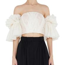 2019 Summer Solid Apricot Women Shirt Slash Neck Off Shoulder Backless Crop Top Blouse Mesh Lace Strapless Short Style Top