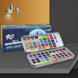 Seamiart 50/72/90 Color Solid Watercolor Paint Set Basic Neone Glitter Watercolor Pigments for Drawing Art Paint Supplies