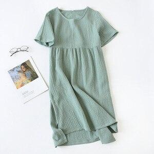 Image 3 - Summer Sleepwear 100% Cotton Crepe Short sleeved Sleepshirts Plus Size Loose Nightgowns Women Night Gown Sexy Sleeping Dress