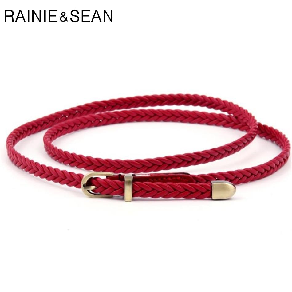 RAINIE SEAN trenzado correa de cuero de mujer, cinturón de cintura negro rojo blanco rosa señoras correa de cuero de la Pu de Bucklet Mujer cinturones