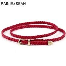 RAINIE SEAN Braided Leather Belt Women Thin Waist Belt Black Red White Pink Ladies Pu Leather Strap Pin Bucklet Female Belts