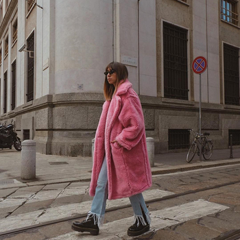 Pink Long Teddy Bear Jacket Coat Women Winter 2020 Thick Warm Oversized Chunky Outerwear Overcoat
