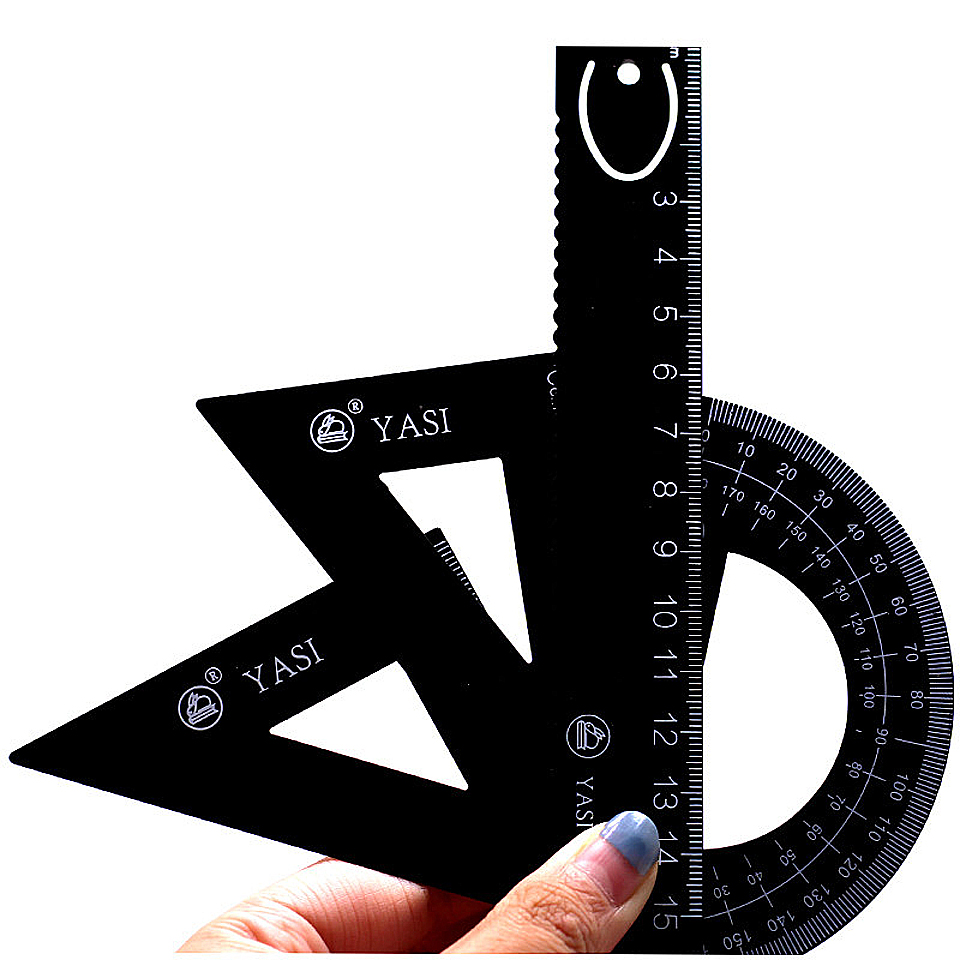New Aluminum Alloy Ruler Aluminum Protractor Students Maths Geometry Metal Triangle Ruler Set Office School Supplies 4pcs/set