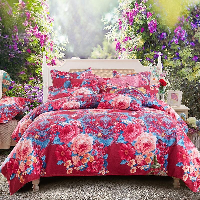 4pcs/set Bedding Set Love Idyllic Flowers Pattern Bed Linings Duvet Cover Bed Sheet Pillowcases Cover Set Bedding Fleur De Lis