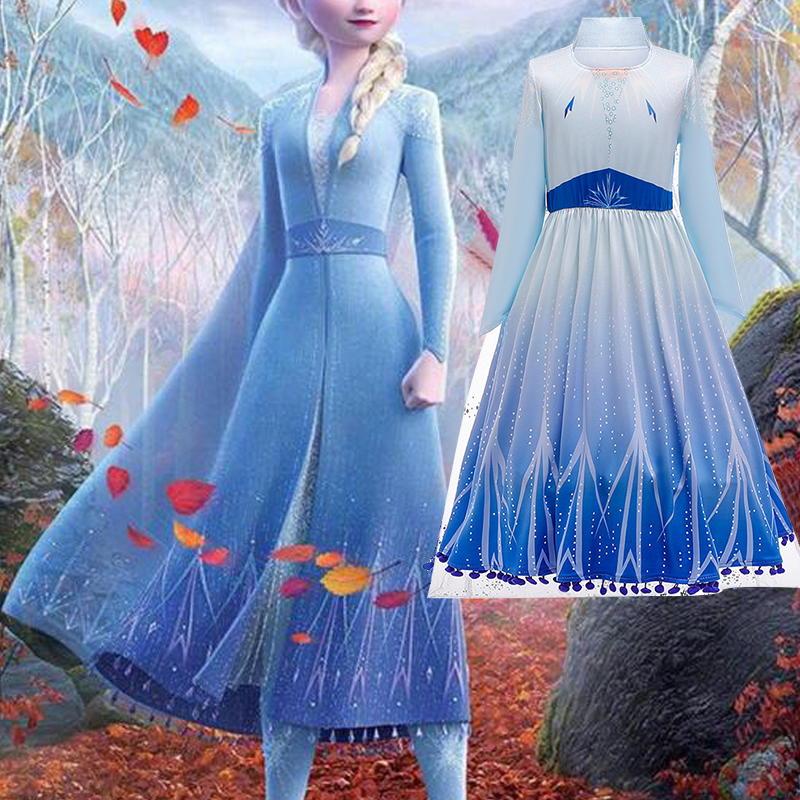 Anna Elsa (Anna Elsa) 2 new princess girl dress Halloween cosplay costume princess cosplay Anna Elsa girl dress baby girl dress|girls dress|princess dress|girls dresses for - title=
