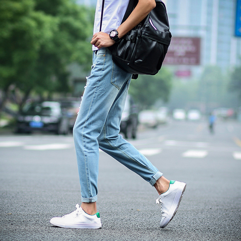 Spring Summer Men With Holes Capri Jeans Straight-Cut Korean-style Youth Slim Models Skinny Harem Pants MEN'S Trousers Fashion