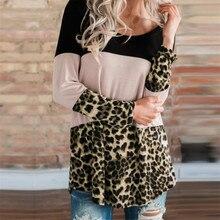 Леопардовые толстовки для женщин с длинным рукавом, топ с капюшоном, женские пуловеры, кружевные свитшоты на пуговицах сзади, женские свитера на осень и зиму
