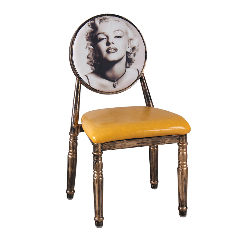 Nail Chair Retro Restaurant European Iron Dining Chair Creative Hotel Personality Makeup Chair Nail Stool Chair