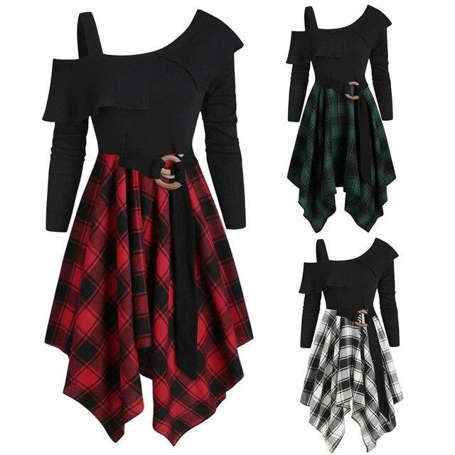Women Sexy High Waist Asymmetric Gothic Plaid Mini Dress Preppy Casual Female Elegant Goth Punk Short Party Dresses Vestido #T2Q 1