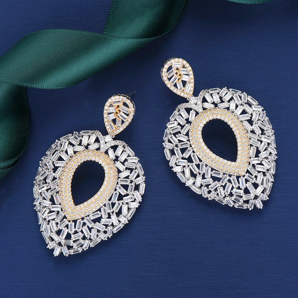 LARRAURI à la mode déclaration Long Dangle boucles d'oreilles pour les femmes de mariage complet cubique Zircon africain indien mariée boucle d'oreille goutte 2019