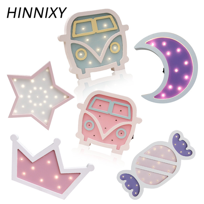 Hinnixy Candy Color Wooden Night Lights Crown Bus Star Moon Lamp Wall Hanging Desk Ornaments Bedroom Home Decor Light Fixtures