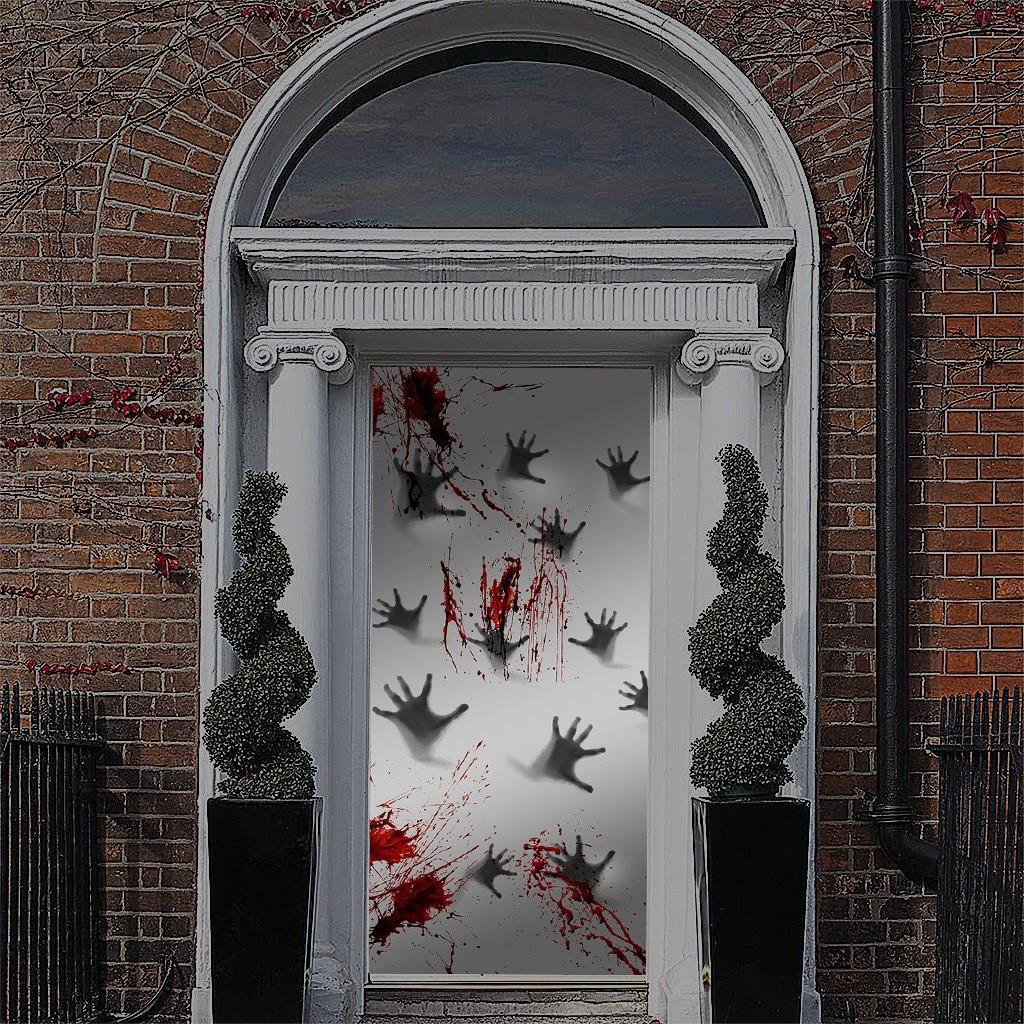 Blood Hand Foot Print Stickers Horror Zombie Halloween Car Wall Door Stick Decor